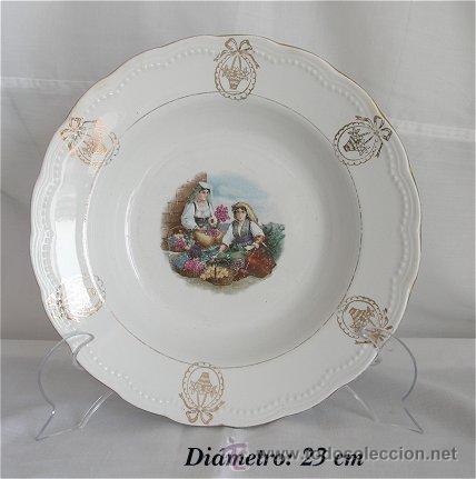PLATO ANTIGUO DE SAN JUAN DE AZANALFACHE FLORISTAS (Antigüedades - Porcelanas y Cerámicas - San Juan de Aznalfarache)