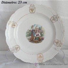 Antigüedades: PLATO ANTIGUO DE SAN JUAN DE AZANALFACHE PESCADERA E HILANDERA. Lote 25566687