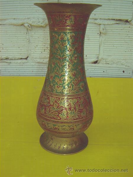JARRON METAL INDIO (Antigüedades - Hogar y Decoración - Jarrones Antiguos)