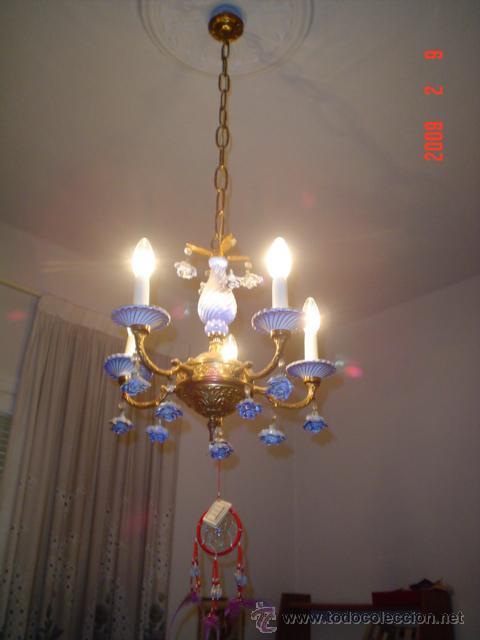 LÁMPARA DE BRONCE Y CERÁMICA (Antigüedades - Iluminación - Lámparas Antiguas)