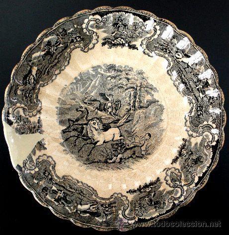 CARTAGENA - ENSALADERA GALLONADA - CAPTURA DE POTROS SALVAJES - S. XIX (Antigüedades - Porcelanas y Cerámicas - Cartagena)