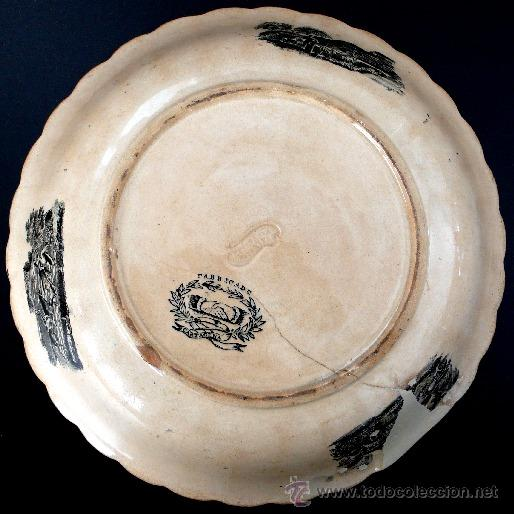 Antigüedades: CARTAGENA - ENSALADERA GALLONADA - CAPTURA DE POTROS SALVAJES - S. XIX - Foto 2 - 27225811