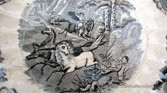 Antigüedades: CARTAGENA - ENSALADERA GALLONADA - CAPTURA DE POTROS SALVAJES - S. XIX - Foto 3 - 27225811
