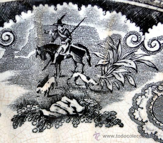 Antigüedades: CARTAGENA - ENSALADERA GALLONADA - CAPTURA DE POTROS SALVAJES - S. XIX - Foto 4 - 27225811