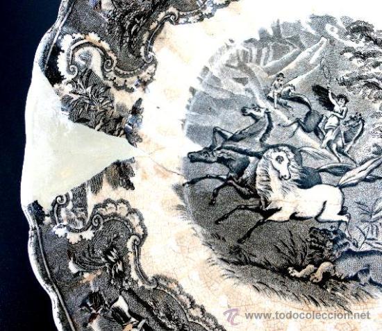 Antigüedades: CARTAGENA - ENSALADERA GALLONADA - CAPTURA DE POTROS SALVAJES - S. XIX - Foto 6 - 27225811