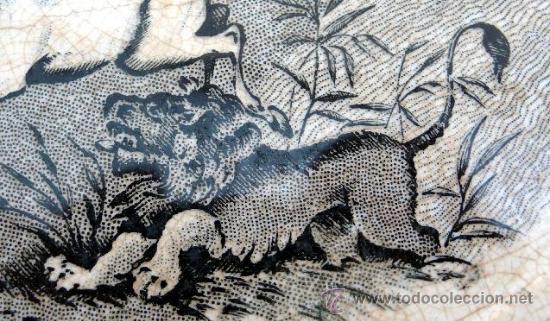 Antigüedades: CARTAGENA - ENSALADERA GALLONADA - CAPTURA DE POTROS SALVAJES - S. XIX - Foto 7 - 27225811