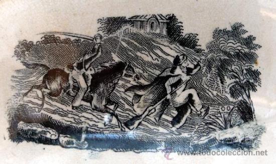 Antigüedades: CARTAGENA - ENSALADERA GALLONADA - CAPTURA DE POTROS SALVAJES - S. XIX - Foto 8 - 27225811