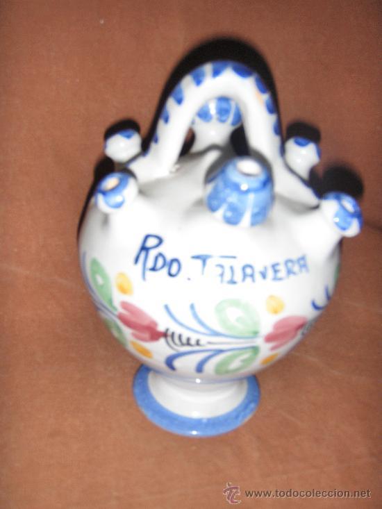 ZA 3 - BOTIJO RECUERDO DE TALAVERA 18 X 13 CMS BOTIJO RECUERDO DE TALAVERA 18 X 13 CMS (Antigüedades - Porcelanas y Cerámicas - Talavera)