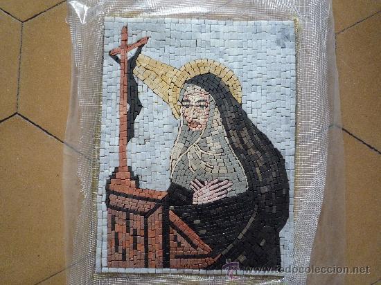 UN HERMOSO MOSAICO RELIGIOSO DE MARMOL, HECHO A MANO. (Antigüedades - Religiosas - Varios)