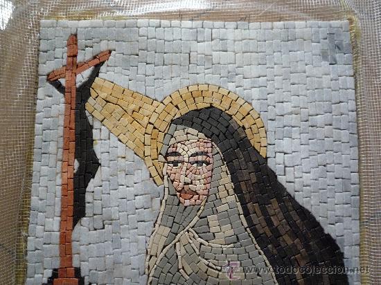 Antigüedades: UN HERMOSO MOSAICO RELIGIOSO DE MARMOL, HECHO A MANO. - Foto 2 - 12647867