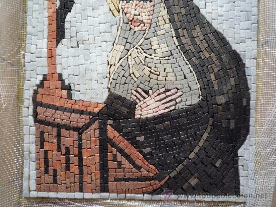 Antigüedades: UN HERMOSO MOSAICO RELIGIOSO DE MARMOL, HECHO A MANO. - Foto 3 - 12647867
