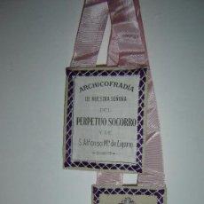Antigüedades: ESCAPULARIO DE LA ARCHICOFRADIA DE NTRA. SRA. DEL PERPETUO SOCORRO Y DE S.ALFONSO MARIA DE LIGORIO.. Lote 26590162