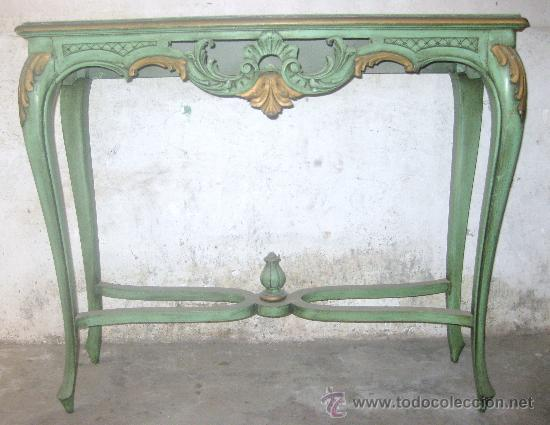 Mesa De Recibidor Antigua Lacada En Verde Comprar Repisas Antiguas - Mesa-de-recibidor