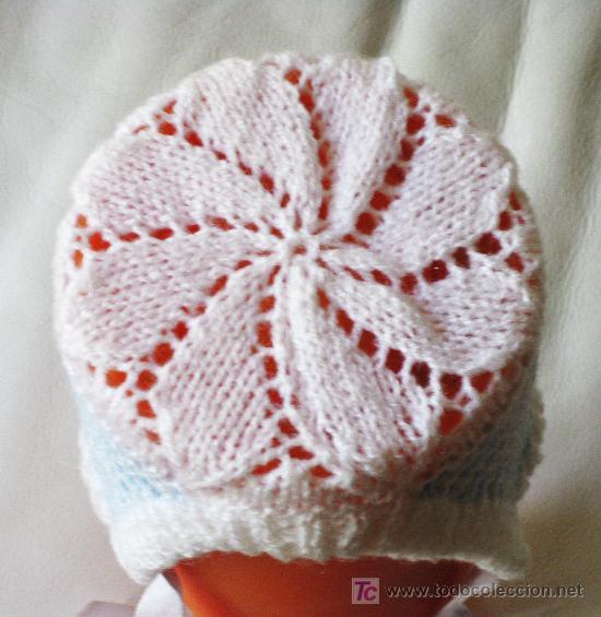 d8bbe517f847e gorrito de bebé tejido a mano en lana azul y bl - Comprar Moda ...