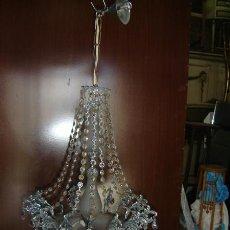 Antigüedades: LAMPARA DE CALAMINA Y CRISTAL, . Lote 12827429