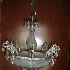 Antigüedades: LAMPARA DE CRISTAL Y CALAMINA. Lote 12827518