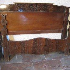 Antigüedades: CAMA ISABELINA CHAPEADA CON NOGAL I ZINC S. XIX. Lote 26509112