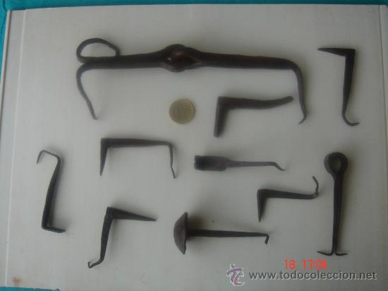 Lote de 10 herrajes antig os de forja para pue comprar - Bisagras puertas metalicas ...