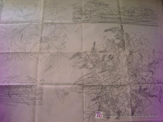 ANTIGUO PATRON PARA BORDADOS 108 X 80 CM ,A DOS CARAS , , ENVIO GRATIS ,NUMERO 4 (Antigüedades - Moda - Bordados)