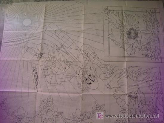 ANTIGUO PATRON PARA BORDADOS 108 X 80 CM ,A DOS CARAS , , ENVIO GRATIS ,NUMERO 8 (Antigüedades - Moda - Bordados)