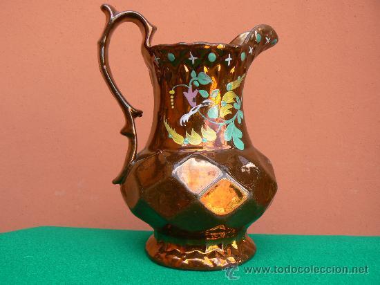 ANTIGUA JARRA CRISTIANAR. BRISTOL. REFLEJO METALICO. (Antigüedades - Porcelanas y Cerámicas - Inglesa, Bristol y Otros)