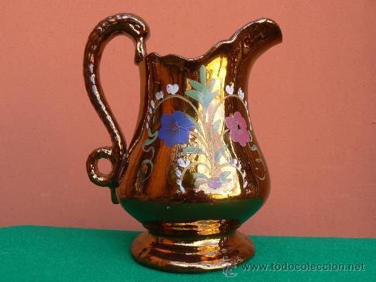 ANTIGUA JARRA DE BRISTOL. REFLEJO METALICO. (Antigüedades - Porcelanas y Cerámicas - Inglesa, Bristol y Otros)