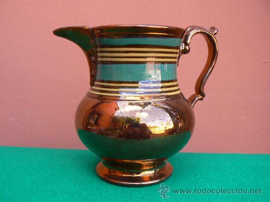ANTIGUA JARRA REFLEJO METALICO. BRISTOL. (Antigüedades - Porcelanas y Cerámicas - Inglesa, Bristol y Otros)