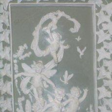 Antigüedades: EXTRAORDINARIO BISCUIT, GRAN PLACA ALTORELIEVE DE ANGELITOS, FINALES XIX PPS XX. Lote 27573070