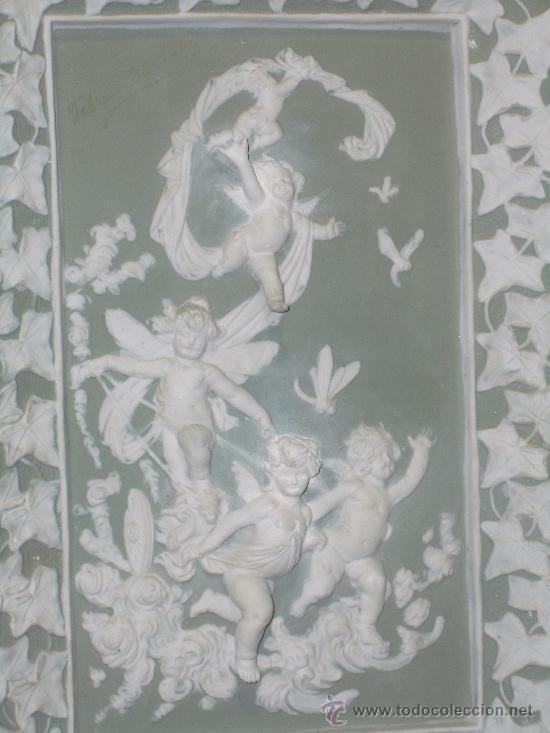 Antigüedades: EXTRAORDINARIO BISCUIT, GRAN PLACA ALTORELIEVE DE ANGELITOS, finales XIX pps XX - Foto 4 - 27573070