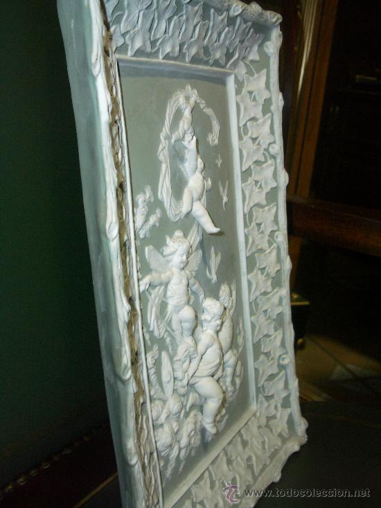 Antigüedades: EXTRAORDINARIO BISCUIT, GRAN PLACA ALTORELIEVE DE ANGELITOS, finales XIX pps XX - Foto 5 - 27573070