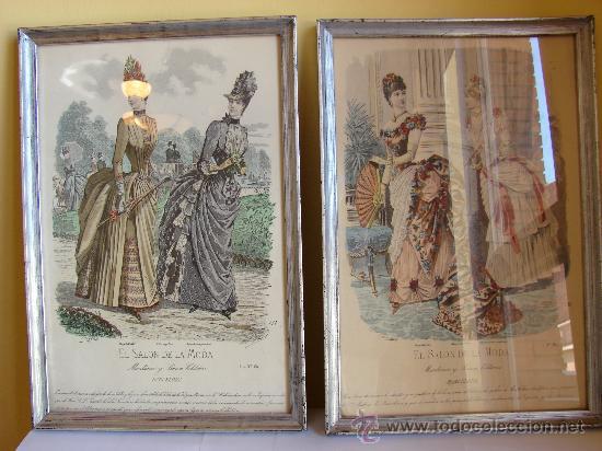 Pareja de cuadros plateados con laminas antigua comprar for Cuadros plateados baratos