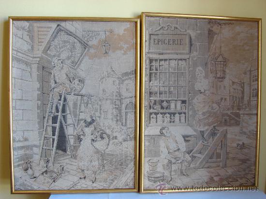 PAREJA DE TAPICES ANTIGUOS ENMARCADOS (Antigüedades - Hogar y Decoración - Tapices Antiguos)
