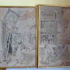 Antigüedades: PAREJA DE TAPICES ANTIGUOS ENMARCADOS. Lote 26357312