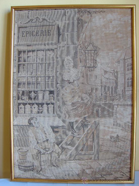 Antigüedades: PAREJA DE TAPICES ANTIGUOS ENMARCADOS - Foto 3 - 26357312