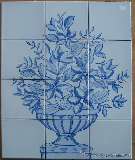 Azulejos jarr n con flores azules comprar azulejos - Azulejos con flores ...