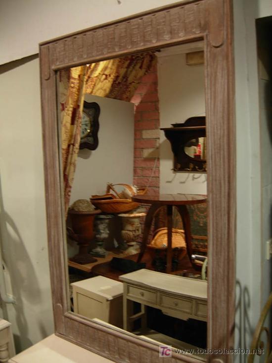 ESPEJO DE MADERA A JUEGO CON APARADOR ESTRECHO (Antigüedades - Muebles Antiguos - Espejos Antiguos)