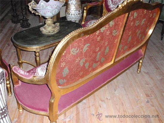 Antigüedades: sofa de 3 plazas y mesa . Estilo antiguo. - Foto 4 - 26029807
