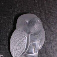 Antigüedades: LALIQUE FRANCE- FIGURA DE CRISTAL BUHO,FIRMADO EN LA BASE-9X6 CM--. Lote 13500332