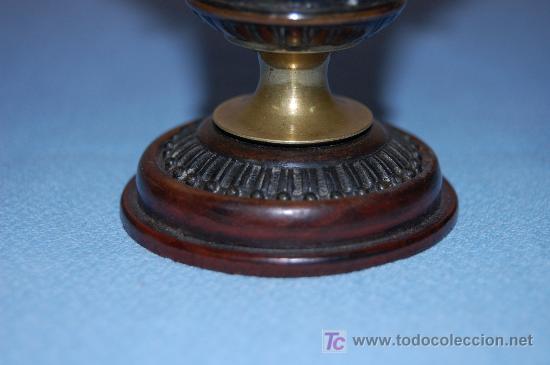 Antigüedades: COPA DE BRONCE ESTILO IMPERIO CON RELIEVE Y BASE EN MADERA FINALES S XIX - Foto 4 - 27197407
