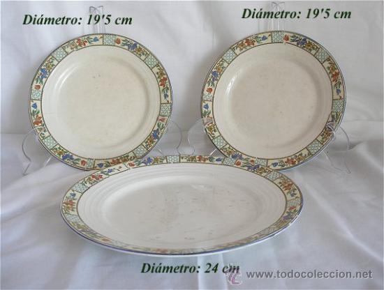 TRES PLATOS ANTIGUOS SAN JUAN DE AZNALFARACHE (Antigüedades - Porcelanas y Cerámicas - San Juan de Aznalfarache)