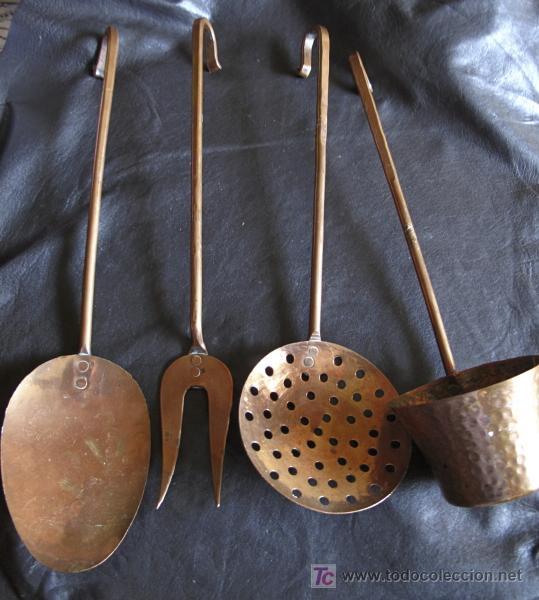 cuatro utensilios de cocina en cobre. antiguos - Comprar ...