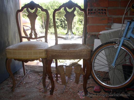 Dos antiguas sillas con taracea en el respaldo comprar - Sillas antiguas restauradas ...