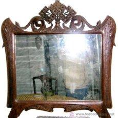 Antigüedades: ESPEJO-MARCO MODERNISTA. EN CASTAÑO MACIZO TALLADO A MANO,S/1880.CALIDAD Y CONSERVAC.VER TEXTOS. Lote 26514075