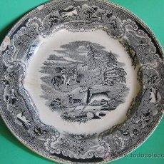 Antigüedades: PLATO CERAMICA SELLO LA AMISTAD CARTAGENA ,CAZA DEL CIERVO Y PUNTILLA CAZA TORO (1845-1898). Lote 27231215