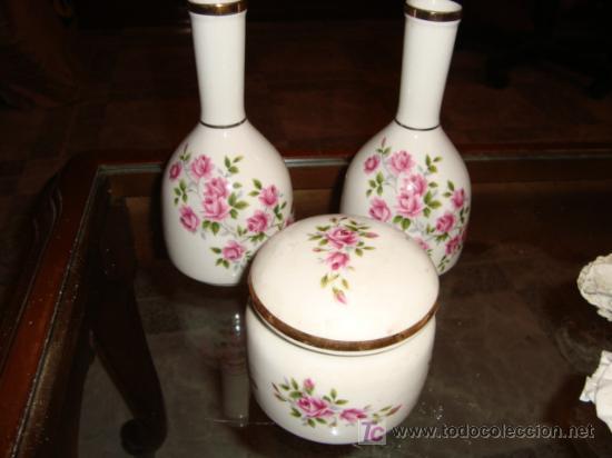 JUEGO DE 3 PIEZAS PORCELANA SANBO, ALTURA MAXIMA 16 CM, (Antigüedades - Porcelanas y Cerámicas - Otras)