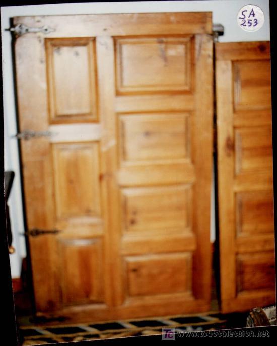 PUERTAS -2- ANTIGUAS.XVII. CON BISAGRAS ÉPOCA. PARA ALACENA-ARMARIO.PATINADAS CERA PINO.VER FOTO. (Antigüedades - Muebles Antiguos - Armarios Antiguos)