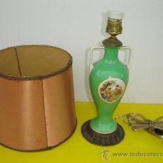 Antigüedades: LAMPARA DE MESA EN BRONCE Y PORCELANA. Lote 13976052