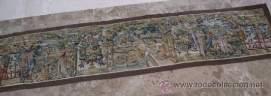 Antigüedades: ENORME TAPIZ DE TELAR RECTANGULAR, ESCENAS MITOLOGICAS SG.XIX. COLOR VIVOS, REMATE MARRON - Foto 2 - 26673513