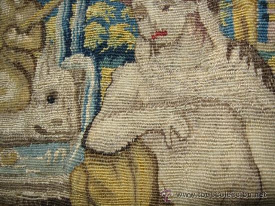 Antigüedades: ENORME TAPIZ DE TELAR RECTANGULAR, ESCENAS MITOLOGICAS SG.XIX. COLOR VIVOS, REMATE MARRON - Foto 9 - 26673513