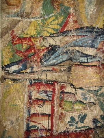 Antigüedades: ENORME TAPIZ DE TELAR RECTANGULAR, ESCENAS MITOLOGICAS SG.XIX. COLOR VIVOS, REMATE MARRON - Foto 11 - 26673513